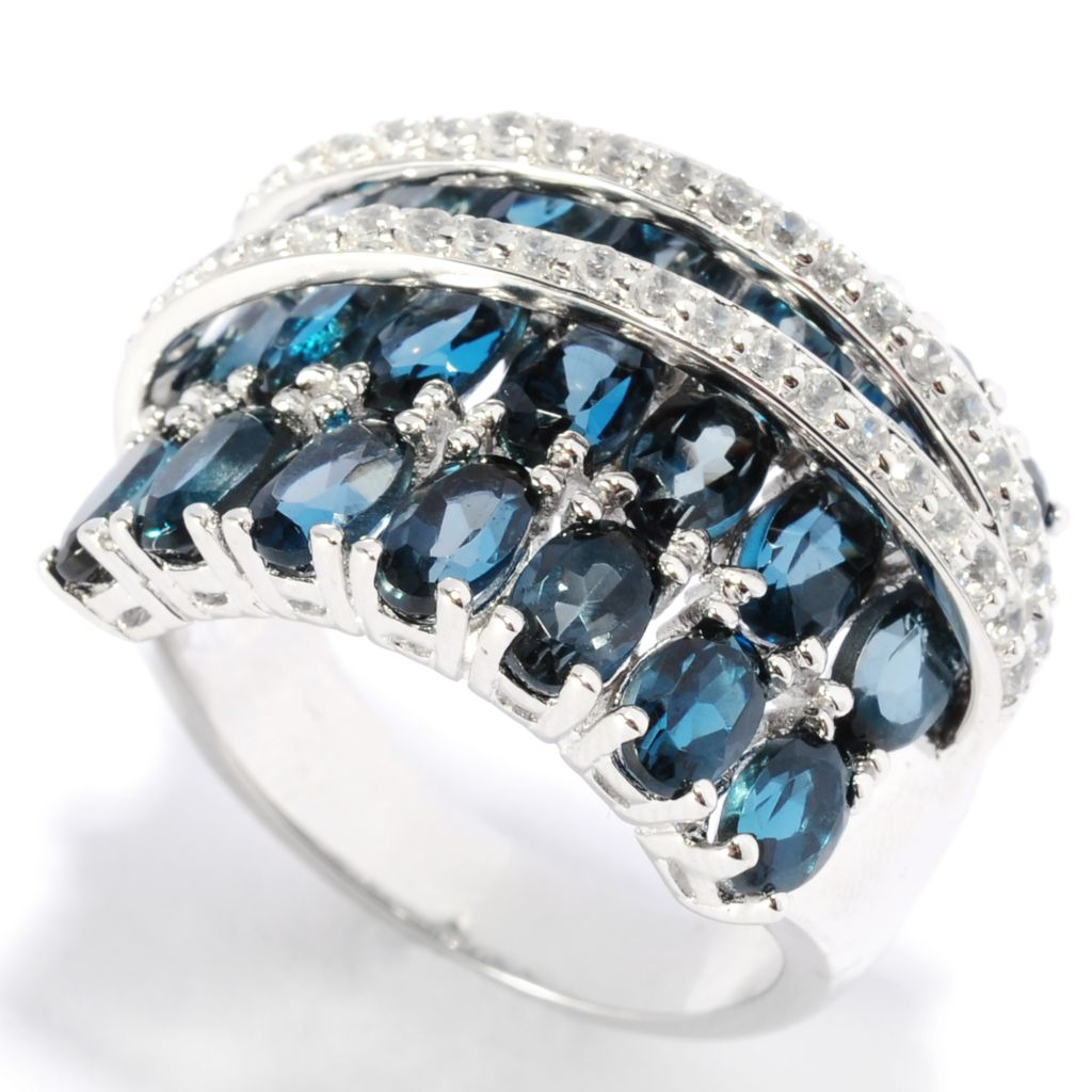 136-570 -  NYC II 6.32ctw Oval London Blue Topaz & White Zircon Overlapping Ring