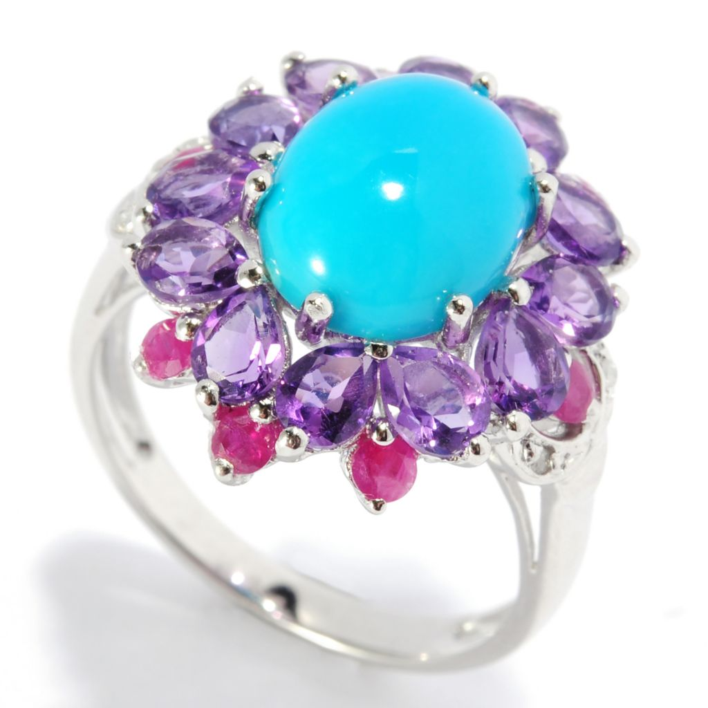 136-571 - NYC II 10 x 8mm Oval Turquoise & Multi Gemstone Flower Ring