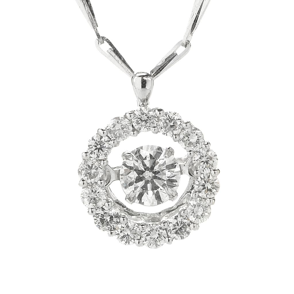 "136-581 - Beverly Hills Elegance 14K White Gold 0.40ctw Diamond Heartbeat Pendant w/ 18"" Chain"
