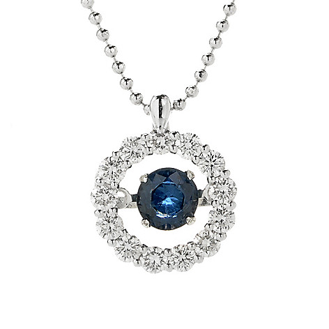 136-582 - Beverly Hills Elegance® 14K White Gold Sapphire & Diamond Heartbeat Pendant w/ 18'' Chain