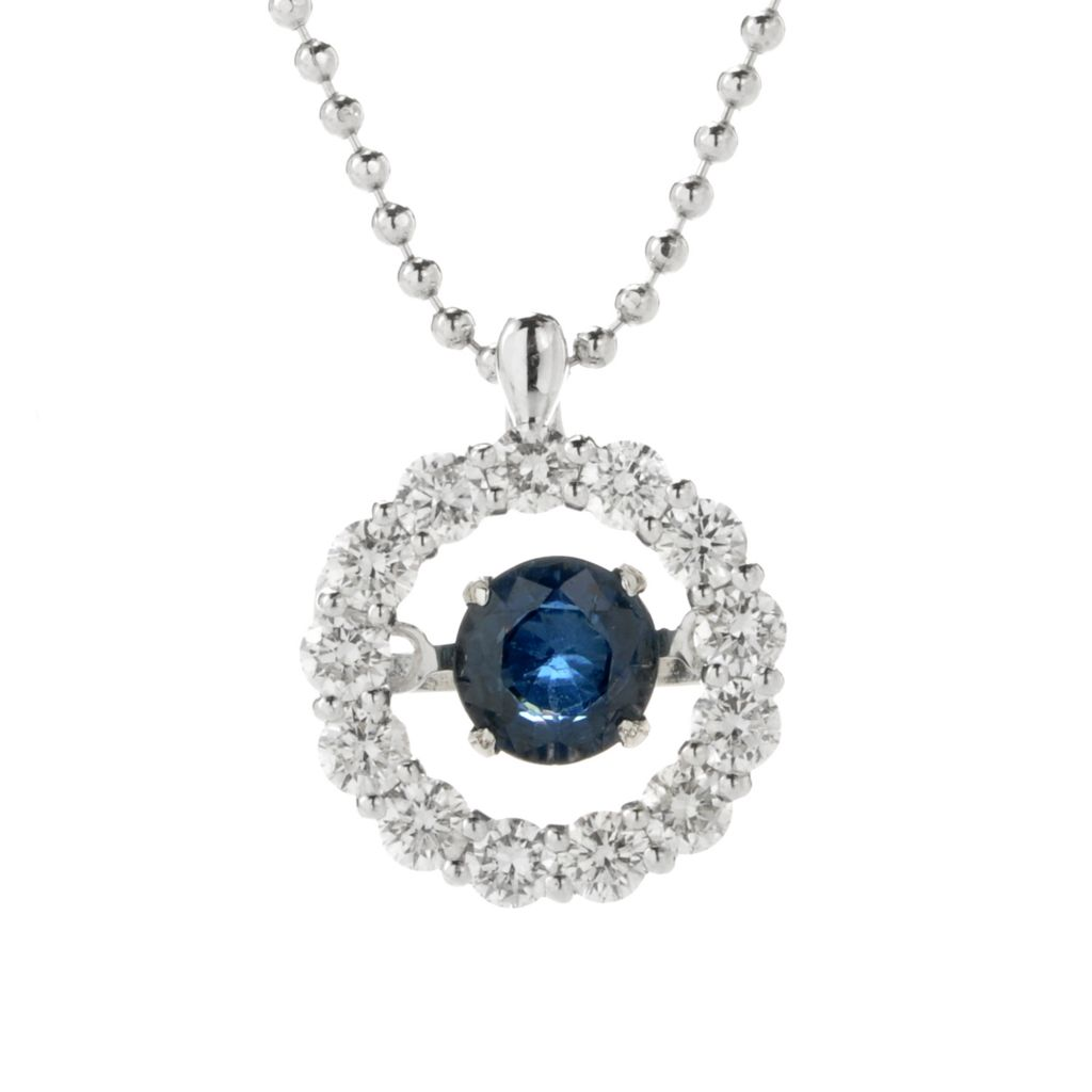 "136-582 - Beverly Hills Elegance 14K White Gold Blue Sapphire & Diamond Heartbeat Pendant w/ 18"" Chain"