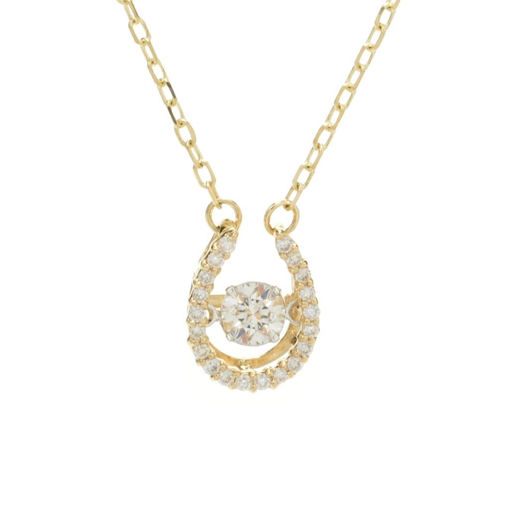 "136-583 - Beverly Hills Elegance 14K Two-tone Gold Diamond Heartbeat Pendant w/ 18"" Chain"
