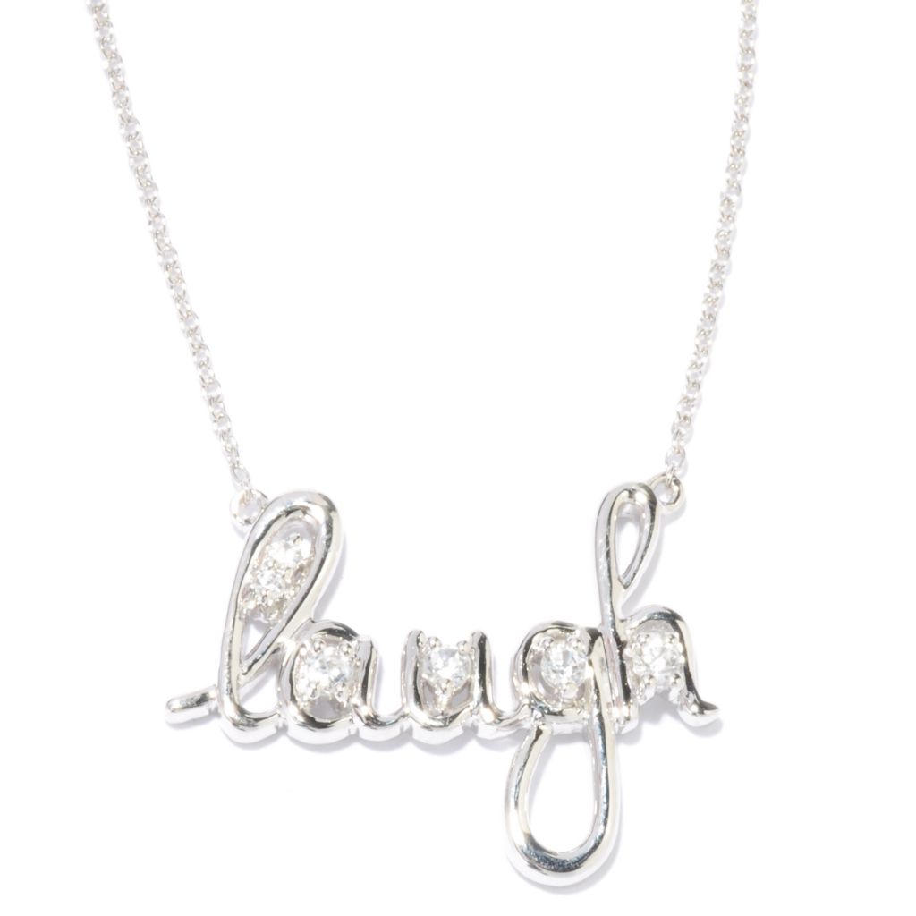 "136-585 - NYC II 18"" Inspirational Word White Zircon Necklace w/ 2"" Extender"