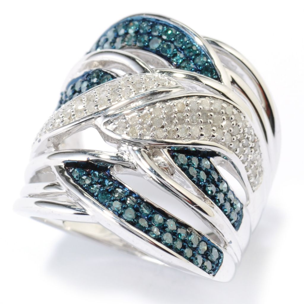 136-586 - Diamond Treasures Sterling Silver 0.91ctw Blue & White Diamond Intertwined Ring