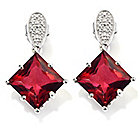 "136-608 - NYC II 1"" 7.42ctw Princess Quartz & Diamond Drop Earrings"