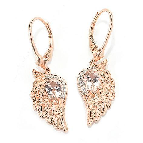 136-614 - NYC II 1.34ctw Morganite & White Zircon Angel Wing Drop Earrings