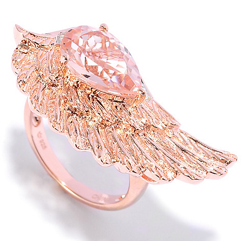 136-615 - NYC II™ 2.50ctw Morganite & White Zircon Angel Wing Ring