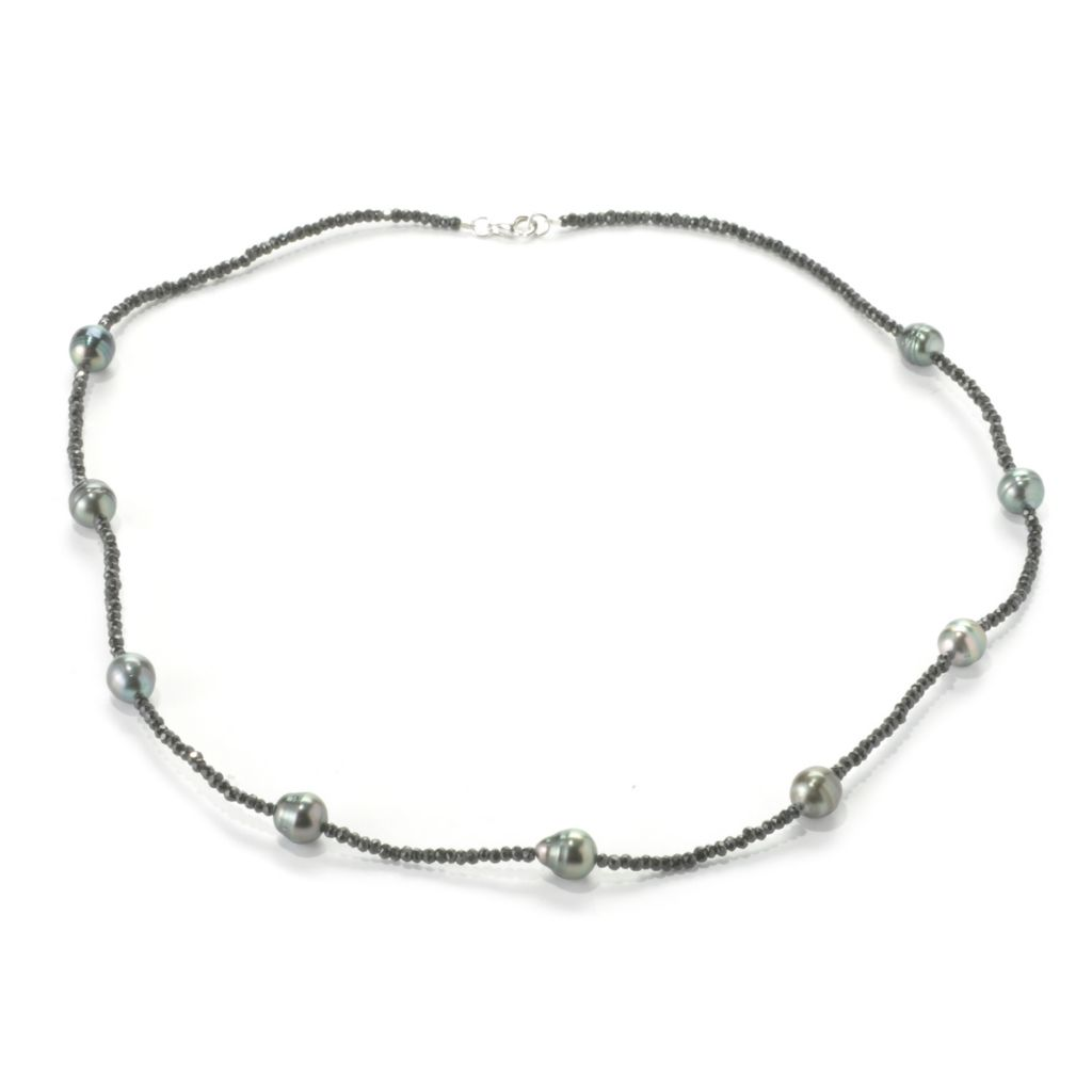 "136-620 - Sterling Silver 24"" 9-10mm Black Tahitian Cultured Pearl & Spinel Station Necklace"