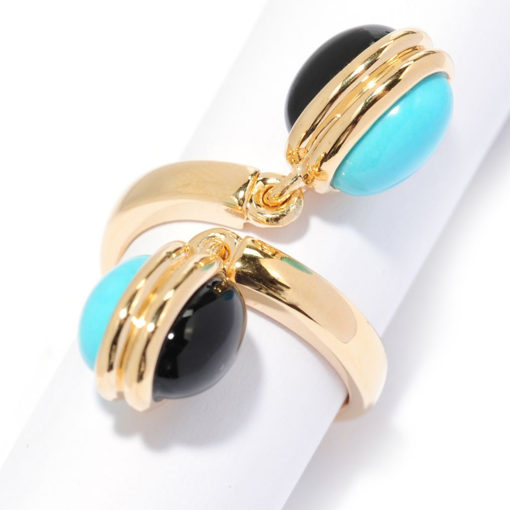 136-642 - Omar Torres 10 x 7mm Sleeping Beauty Turquoise & Onyx Charm Bypass Ring