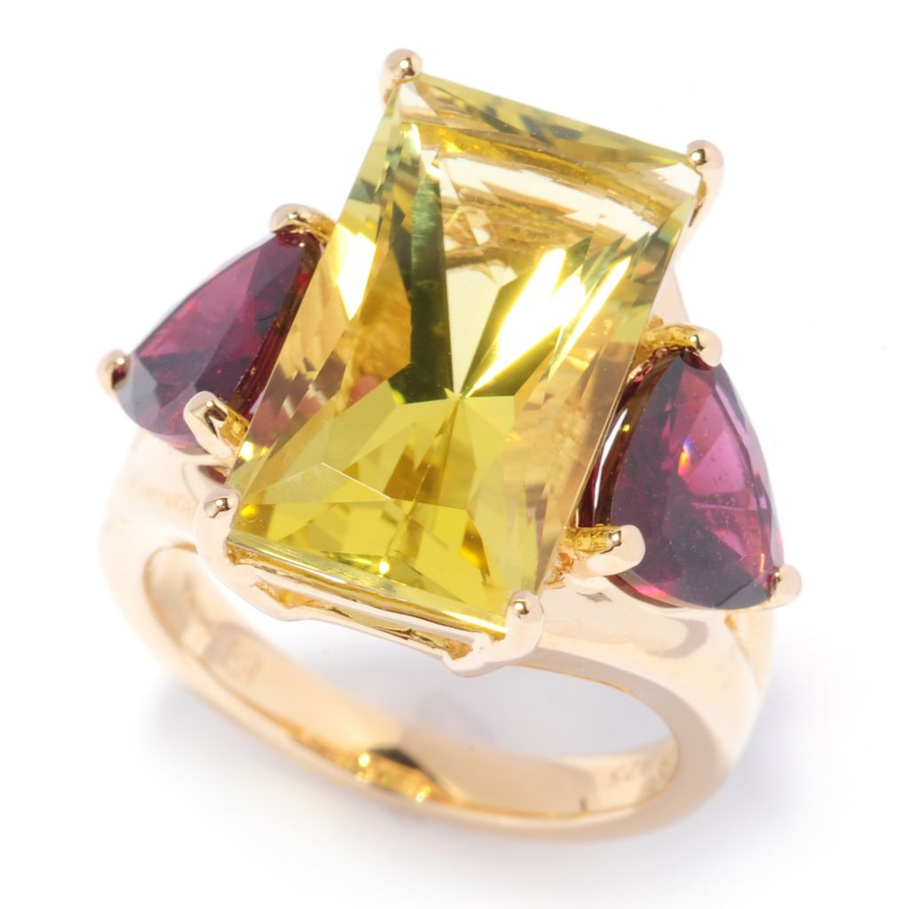 136-643 - Omar Torres 10.90ctw Ouro Verde & Brazilian Garnet Elongated Ring