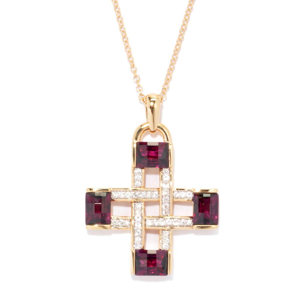 136-644 - Omar Torres 6.96ctw Brazilian Garnet & White Sapphire Cross Pendant w/ Chain