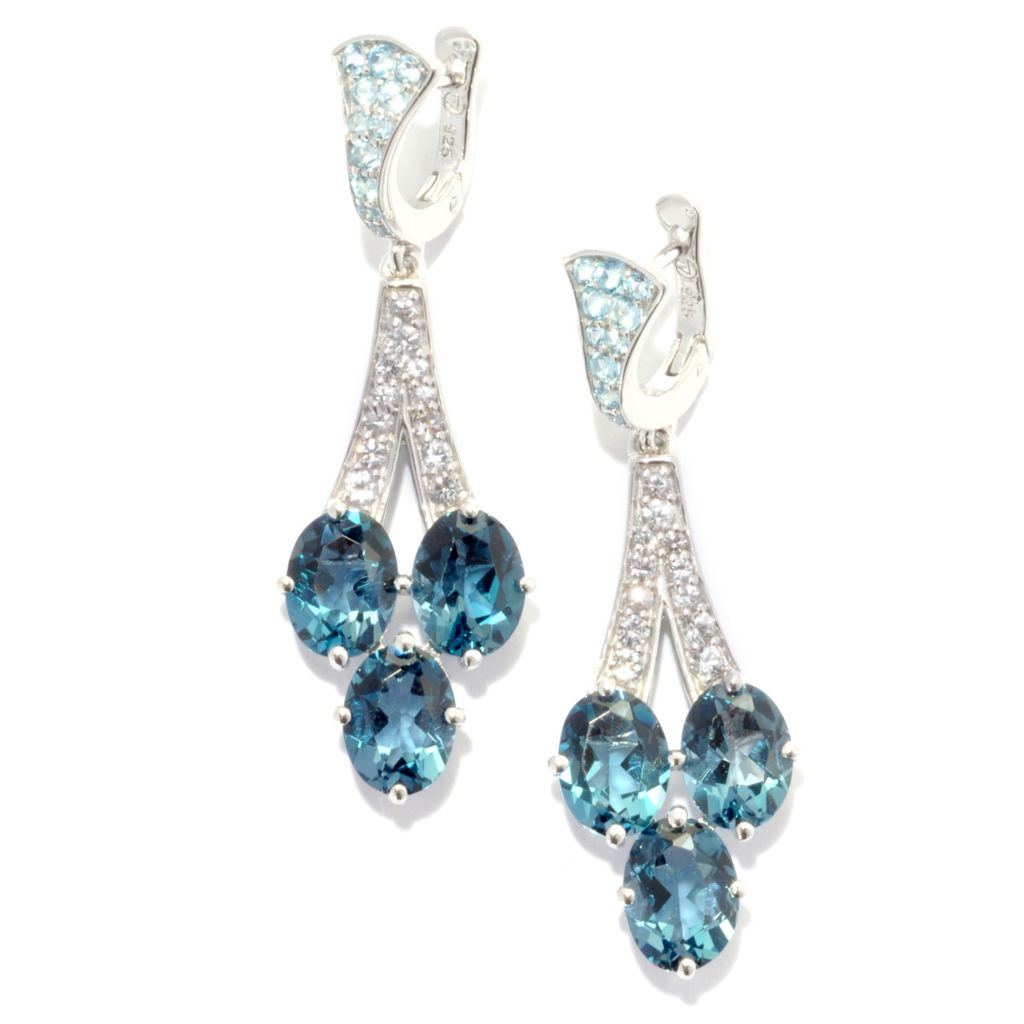"136-646 - Omar Torres 1.5"" 7.99ctw London Blue Topaz, Swiss Blue Topaz & White Sapphire Earrings"