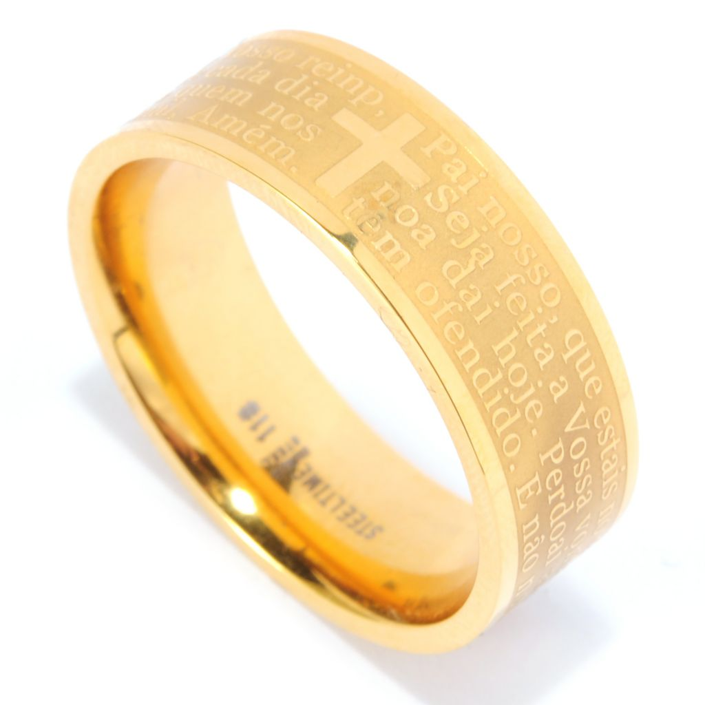 136-655 - Steeltime Men's Yellow Stainless Steel Lord's Prayer Band Ring