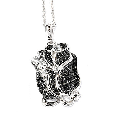 136-660 - NYC II White Zircon & Black Spinel Rose Pendant w/ 18'' Chain