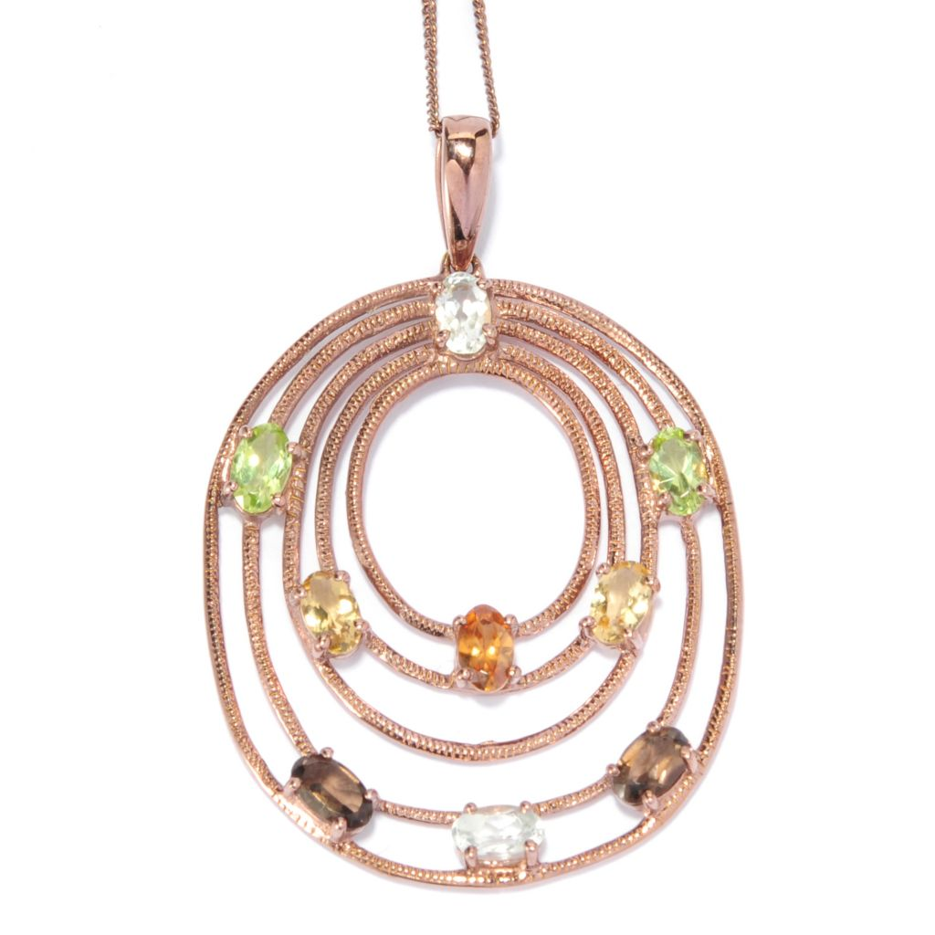 "136-664 -  NYC II Multi Gemstone Textured Oval Tiered Pendant w/ 18"" Chain"