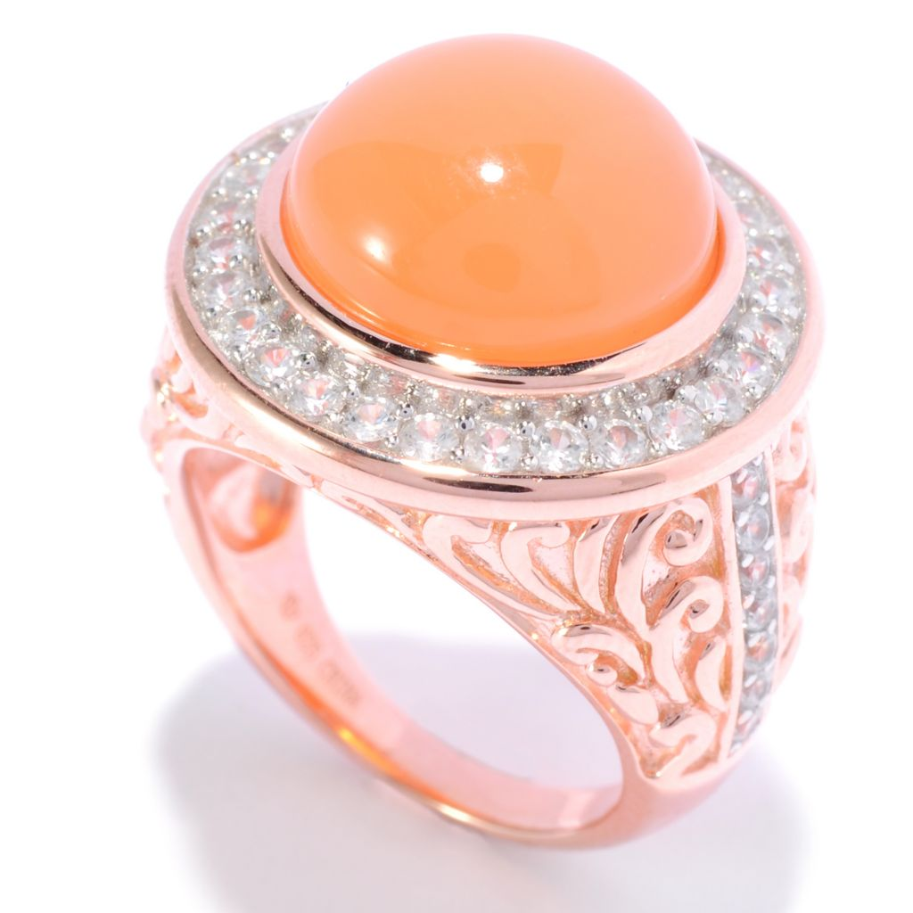 136-665 - NYC II 8.38ctw Round Peach Moonstone & White Zircon Scrollwork Ring