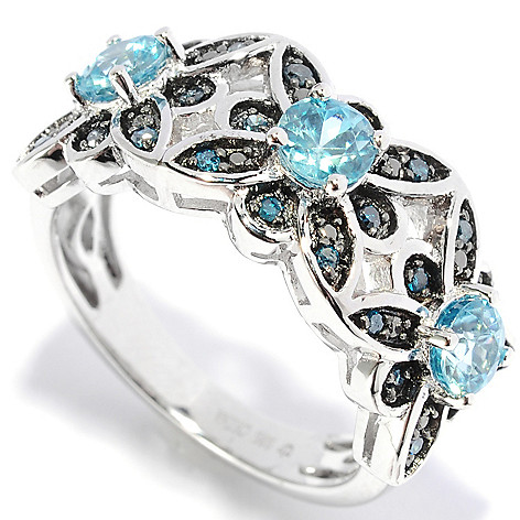 136-666 - NYC II 1.34ctw Round Zircon & Diamond Flower Band Ring