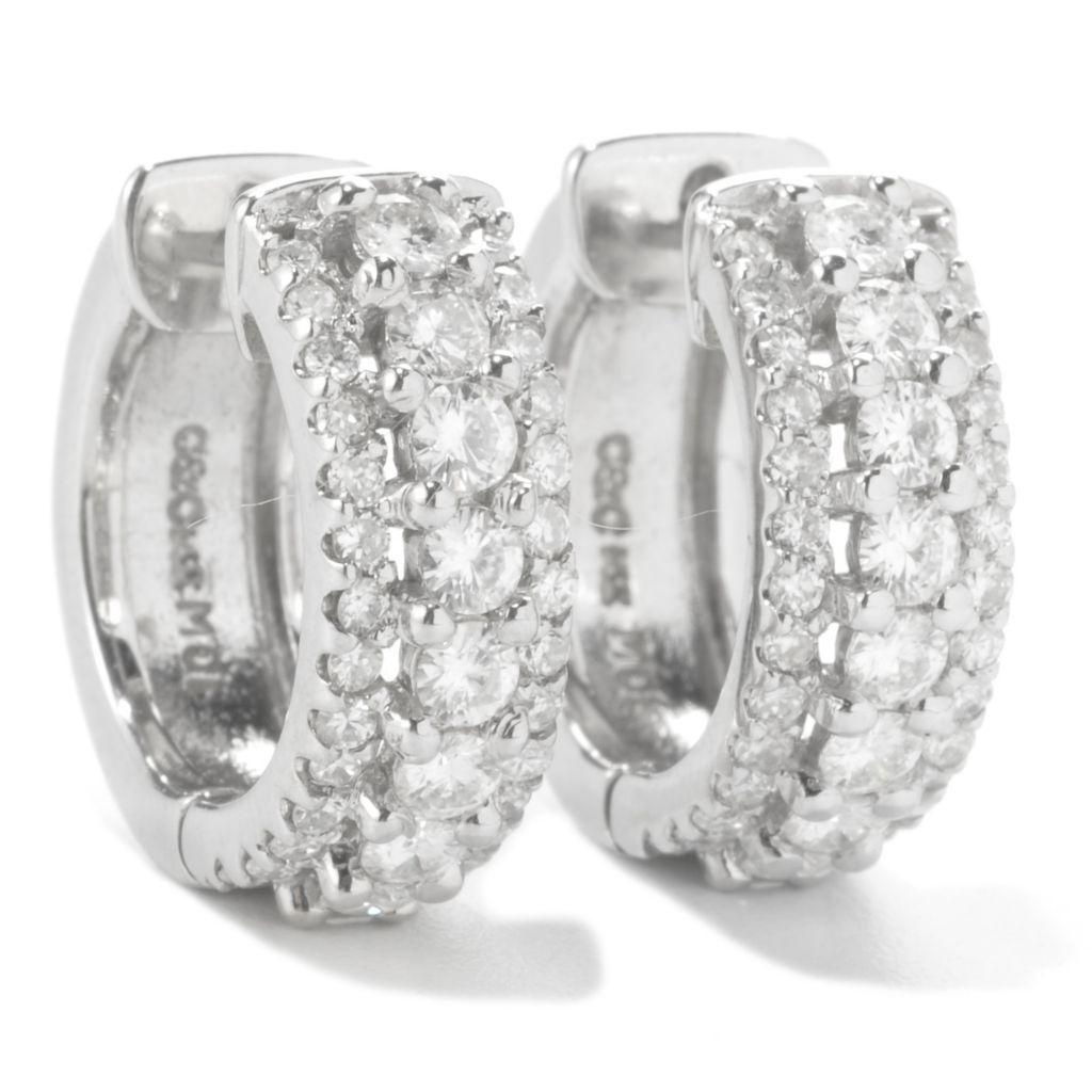 136-686 - Forever Brilliant® Moissanite 14K White Gold 1.52 DEW Three-Row Hoop Earrings