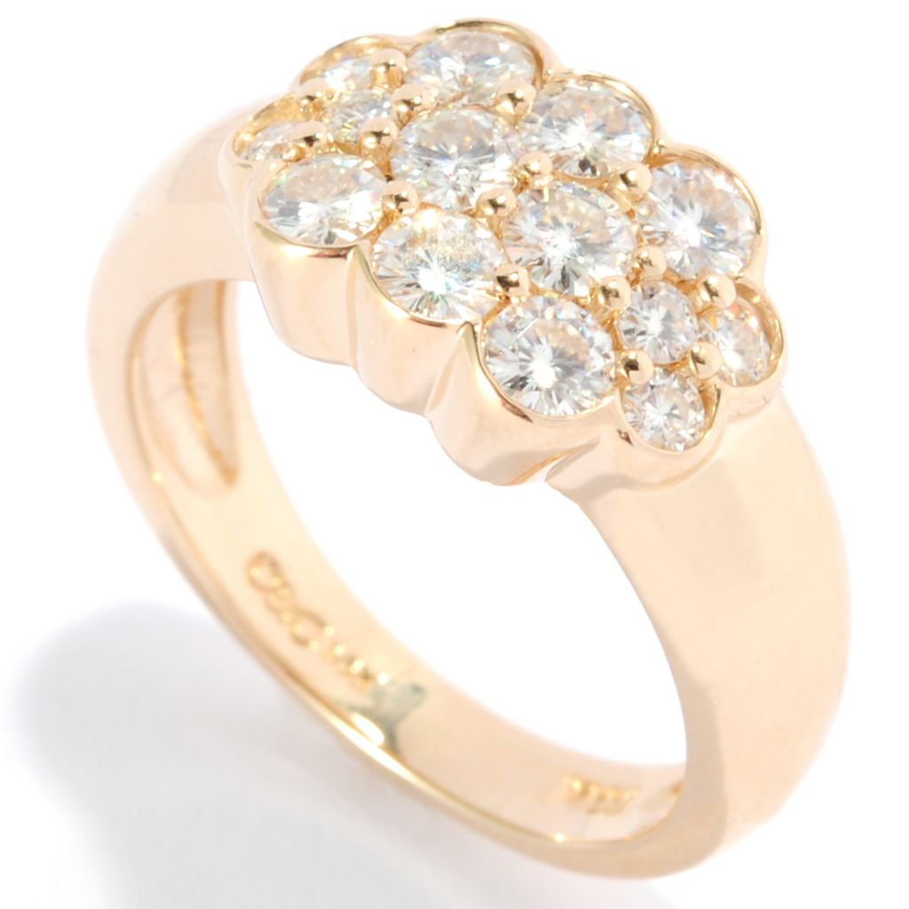 136-736 - Forever Brilliant® Moissanite 14K Gold Round Cut Bezel Set Cluster Ring