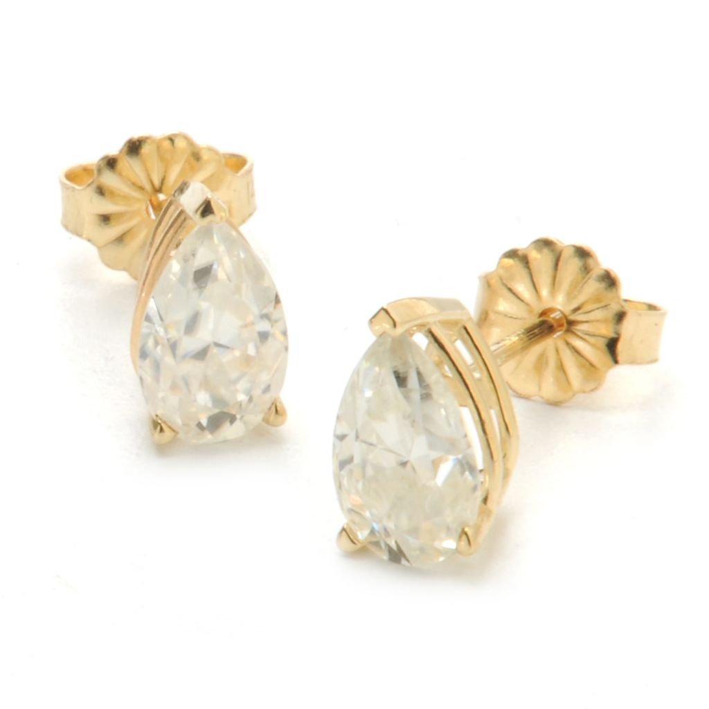 136-738 - Forever Brilliant® Moissanite 14K Gold 1.88 DEW Pear Shaped Stud Earrings