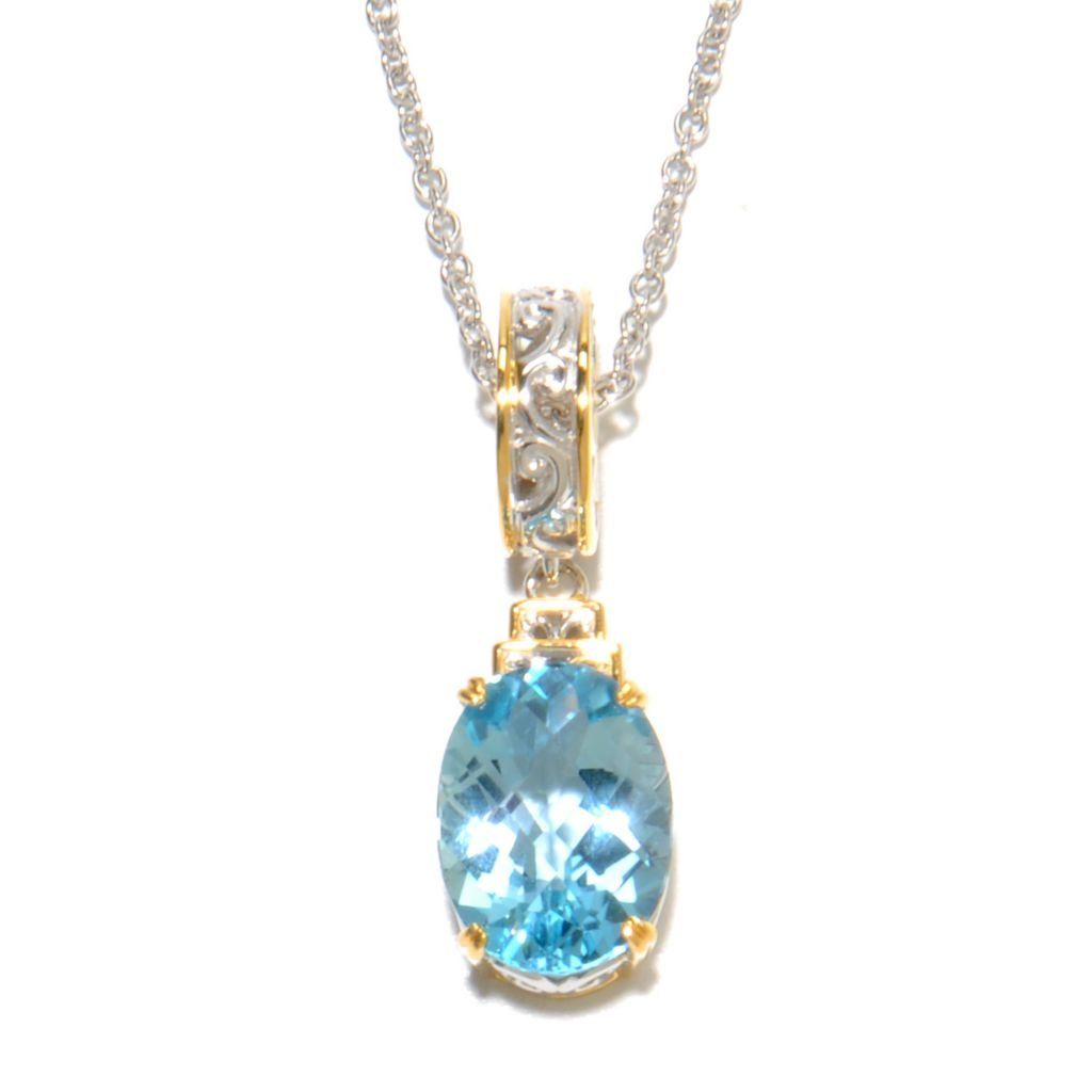 136-740 - Gems en Vogue 5.30ctw Checkerboard Cut Gemstone Charm Necklace