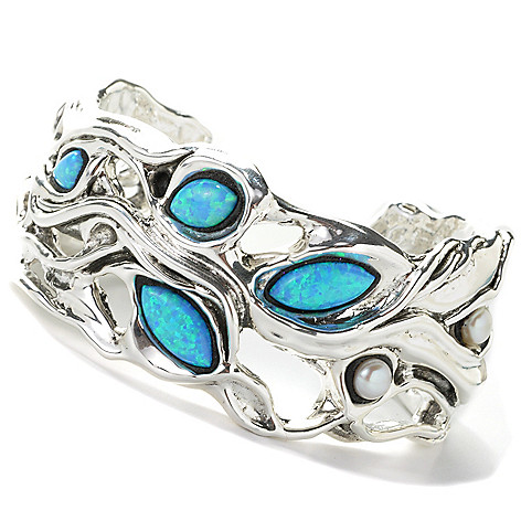 136-746 - Statements by Passage to Israel Sterling Silver 6.75'' Simulated Blue Opal Bracelet