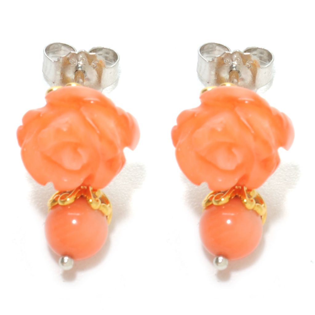 136-762 - Gems en Vogue II Carved Bamboo Coral Rose & Bead Drop Earrings