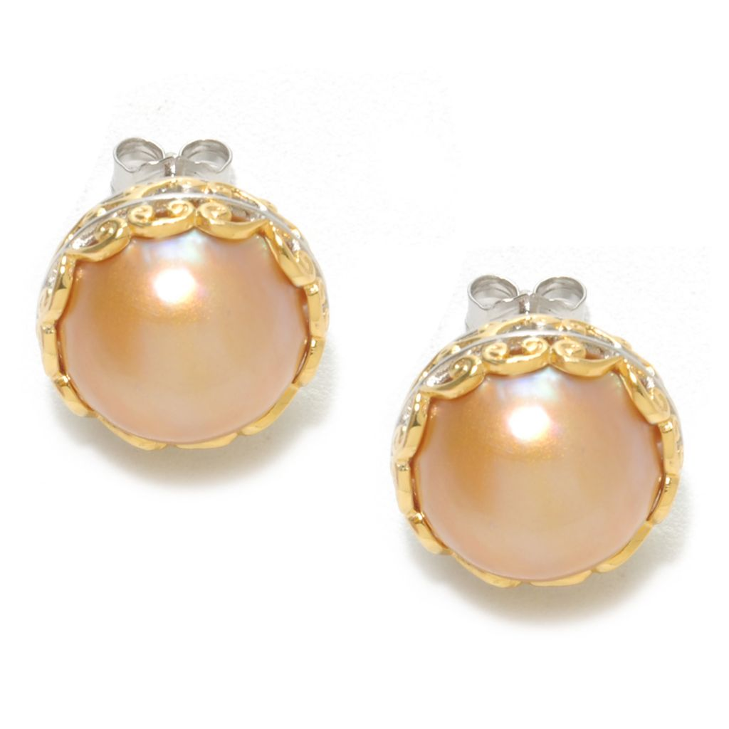 136-764 - Gems en Vogue II 12.5mm Golden Mabe Cultured Pearl Button Earrings