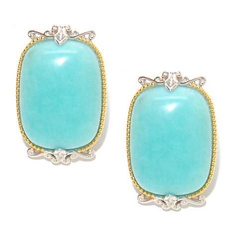136-766 - Gems en Vogue 25 x 15mm Cushion Shaped Peruvian Amazonite Button Earrings