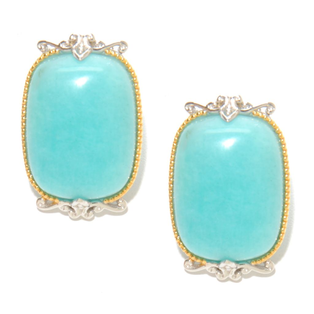 136-766 - Gems en Vogue II 25 x 15mm Cushion Shaped Peruvian Amazonite Button Earrings