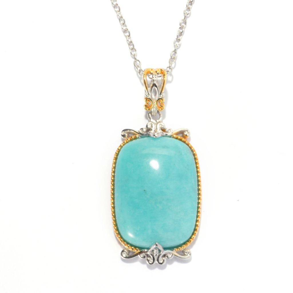 136-767 - Gems en Vogue 25 x 15mm Cushion Shaped Peruvian Amazonite Pendant w/ Chain