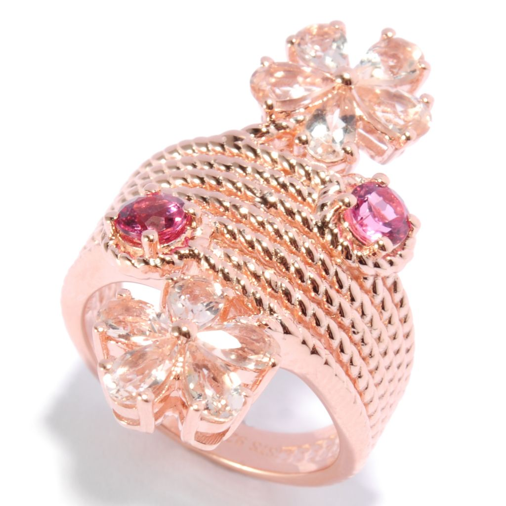 136-769 - NYC II 1.92ctw Morganite & Pink Tourmaline Rope Textured Flower Ring
