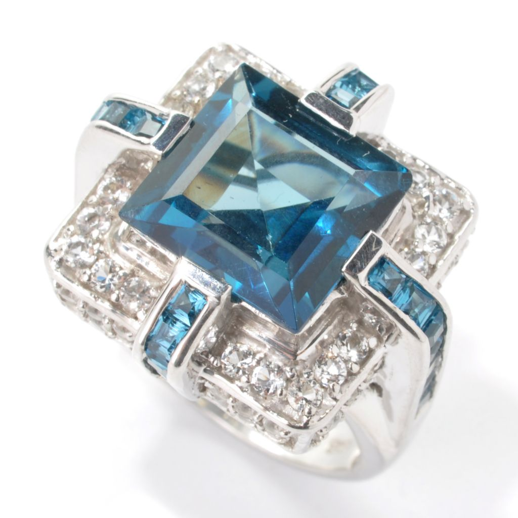136-771 - NYC II 9.34ctw London Blue Topaz & White Topaz Square Ring