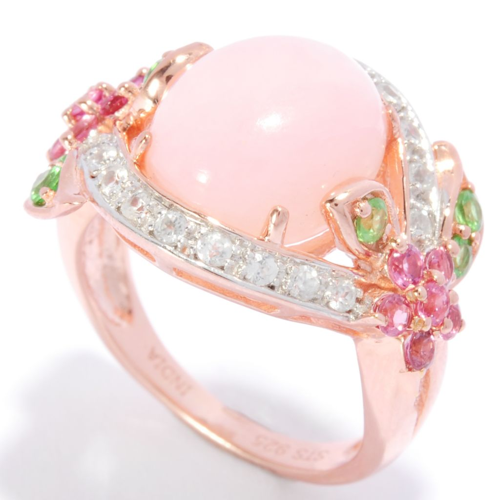 136-772 - NYC II 12 x 10mm Oval Pink Opal & Multi Gemstone Flower Ring