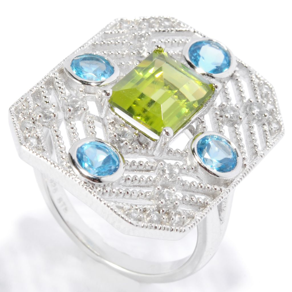 136-773 - NYC II 3.04ctw Peridot, Swiss Blue Topaz & White Zircon Rectangle Ring