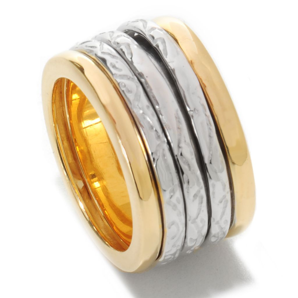 136-776 - Toscana Italiana 18K Gold Embraced™ Two-tone Polished & Textured Panel Spinner Ring