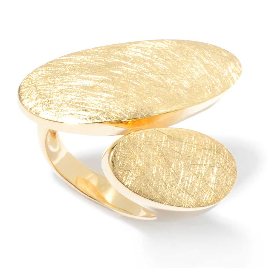 136-778 - Toscana Italiana 18K Gold Embraced™ Textured & Polished Oval Bypass Ring