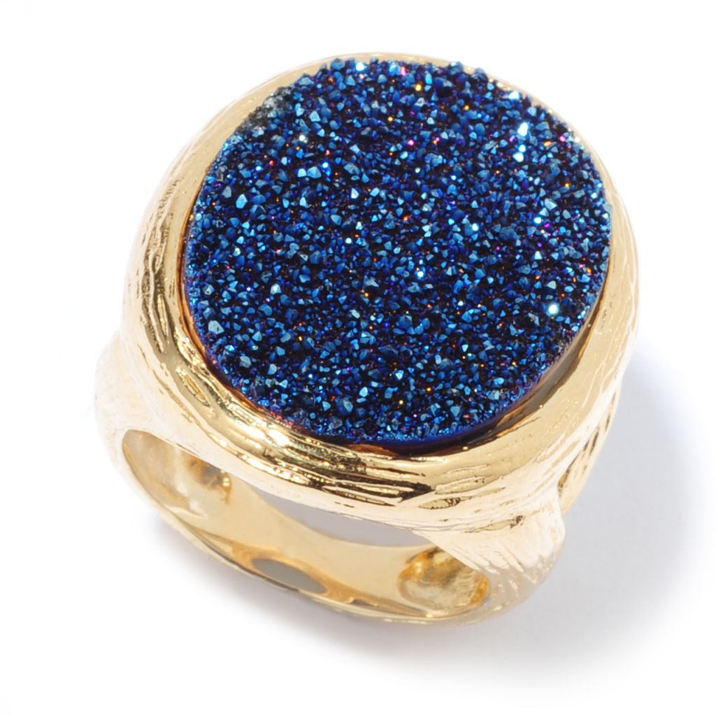 136-780 - Toscana Italiana 18K Gold Embraced™ 25 x 18mm Oval Blue Drusy Textured Ring