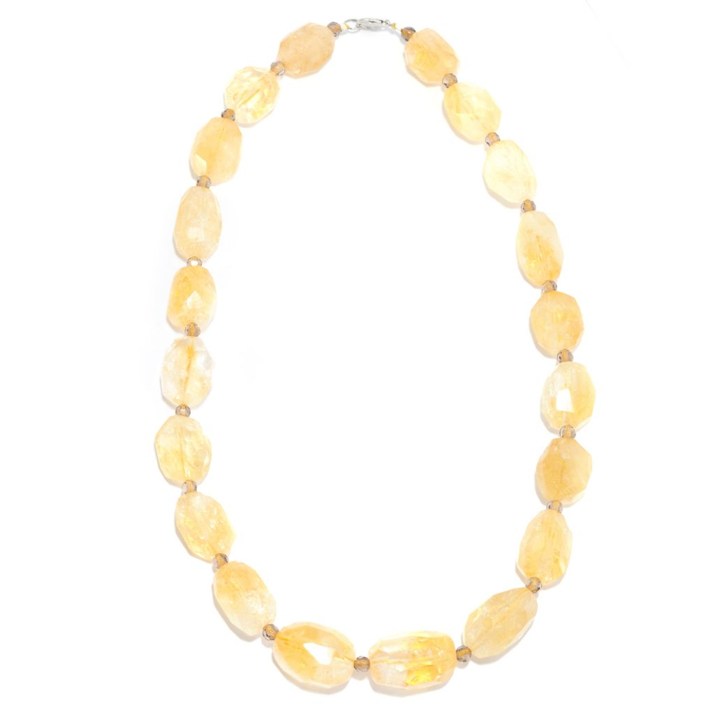 "136-782 - Gem Treasures Sterling Silver 18"" Citrine Nugget & Smoky Quartz Bead Necklace"