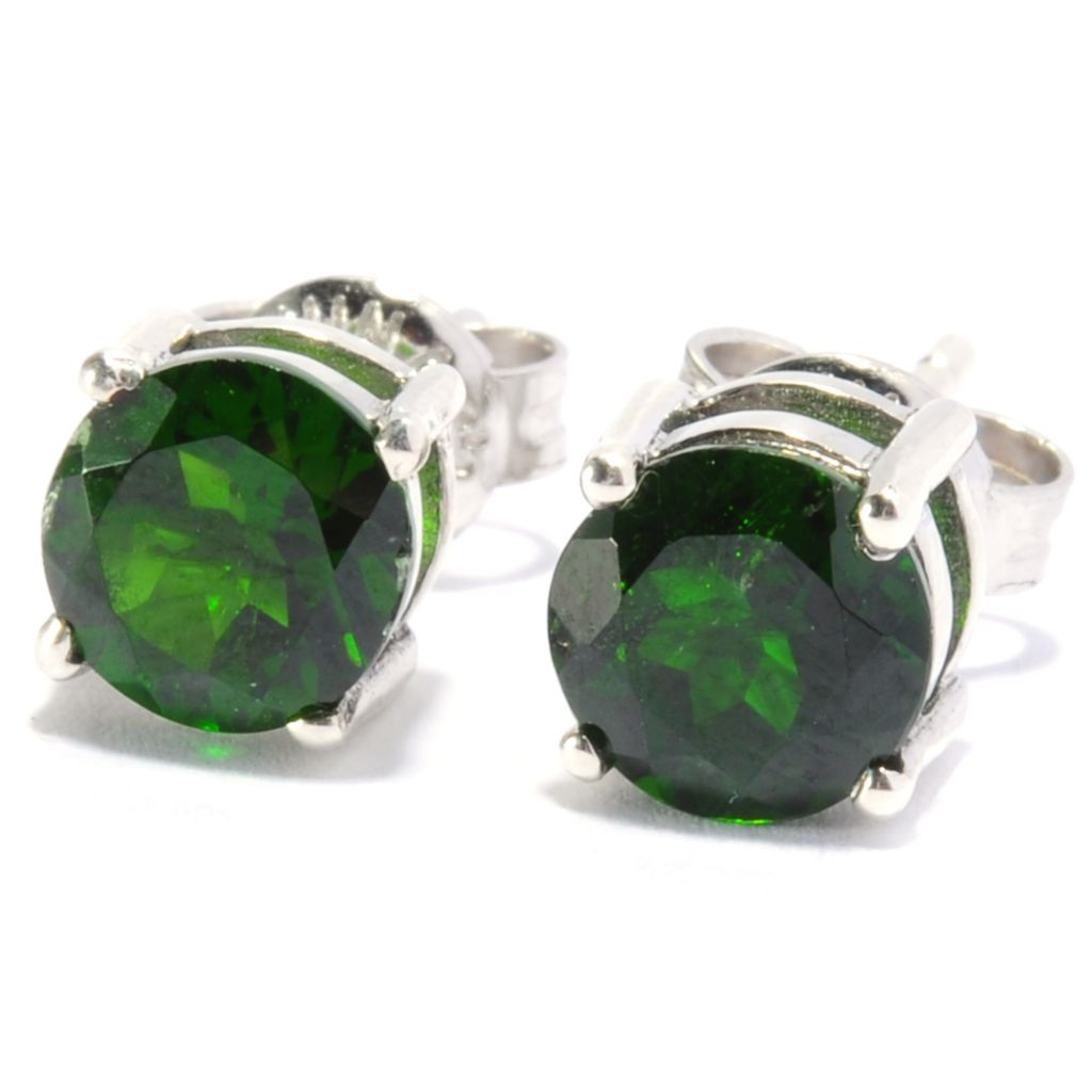 136-783 - Gem Treasures Sterling Silver 1.60ctw Round Chrome Diopside Stud Earrings