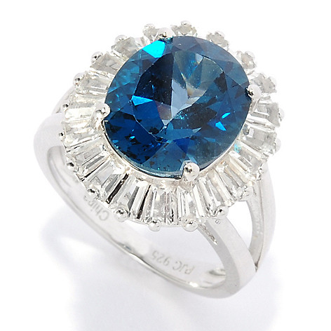 136-784 - Gem Insider™ Sterling Silver 7.50ctw London Blue Topaz & White Topaz Halo Ring