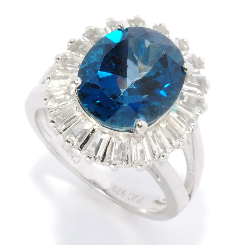136-784 - Gem Insider Sterling Silver 7.50ctw London Blue Topaz & White Topaz Halo Ring