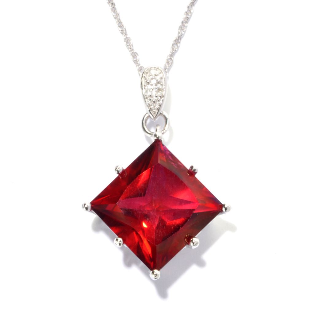 136-786 - NYC II 6.02ctw Princess Cut Exotic Quartz & Diamond Pendant w/ Chain