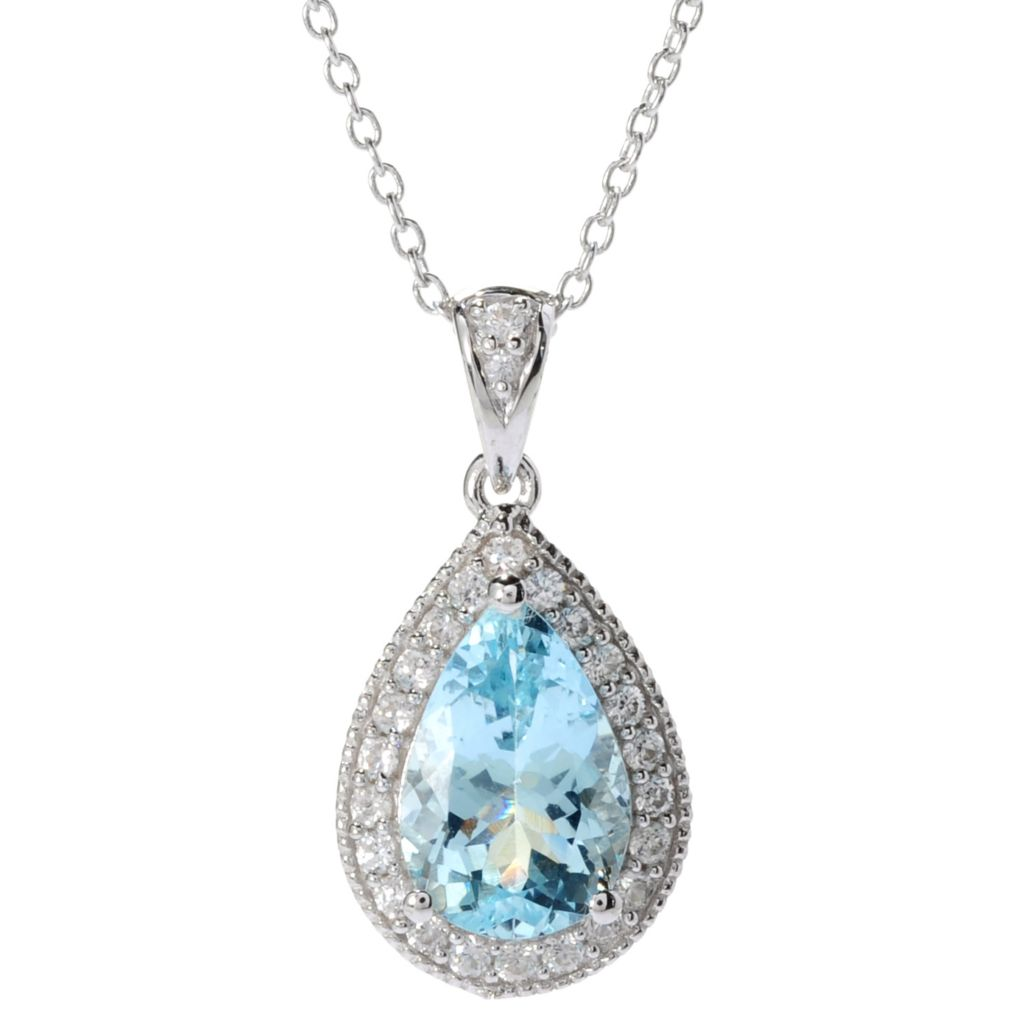 136-787 - NYC II 3.24ctw Pear Shaped Morganite & White Zircon Pendant w/ Chain