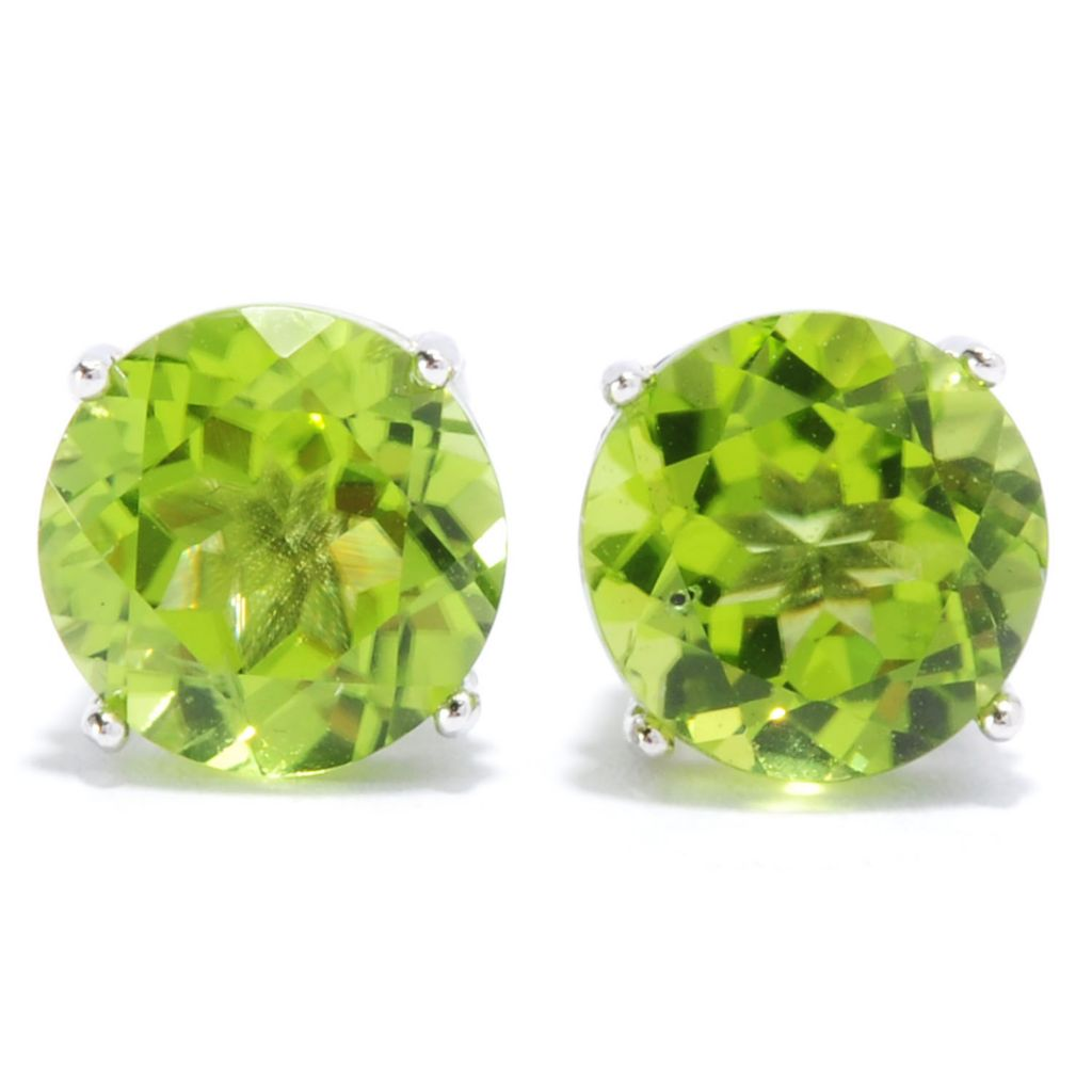 136-790 - Gem Insider Sterling Silver 3.70ctw Round Peridot Stud Earrings