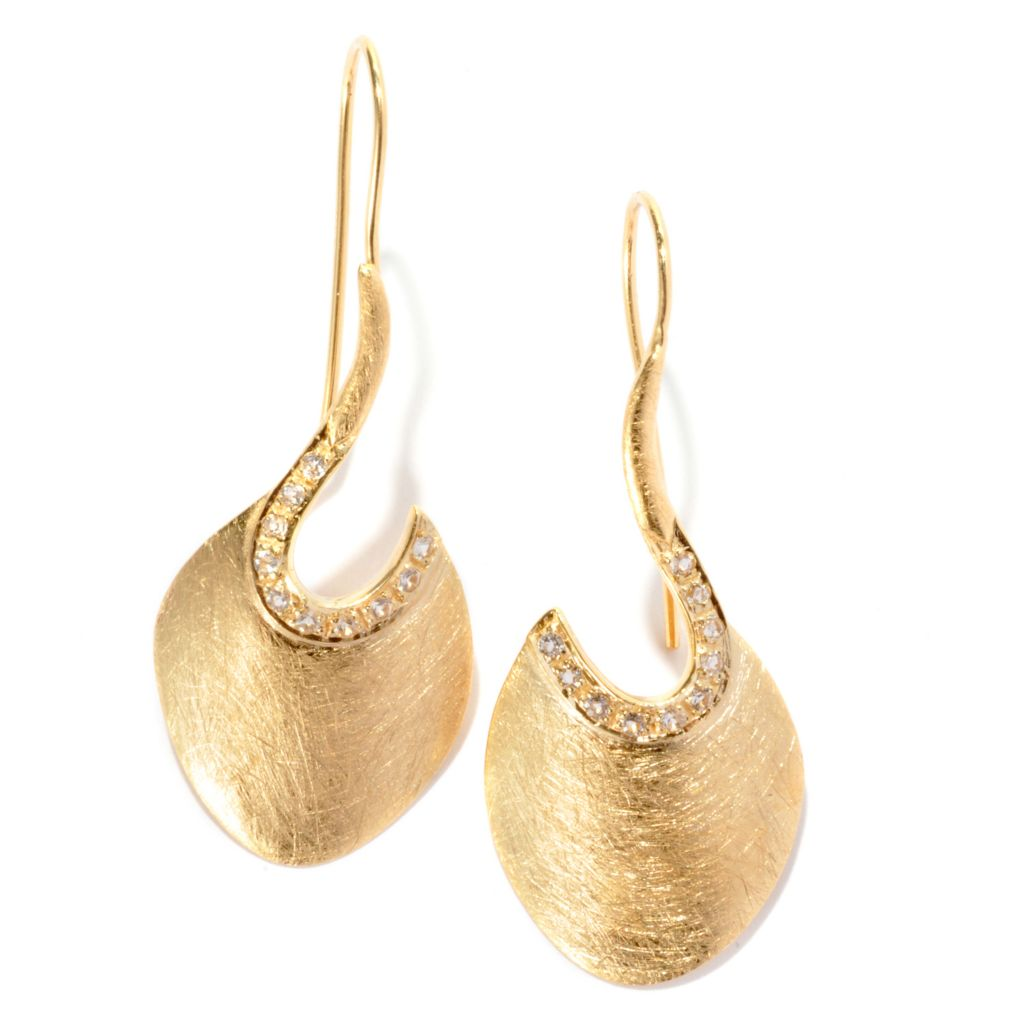 """136-791 - Toscana Italiana Gold Embraced™ 1.75"""" White Topaz Textured Cut-out Disk Earrings"""