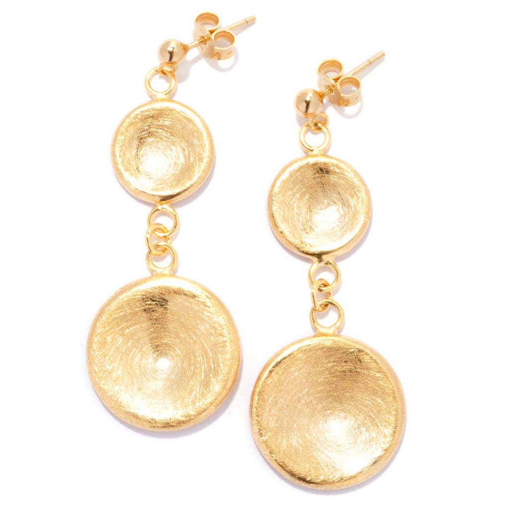 "136-793 - Toscana Italiana 18K Gold Embraced™ 2.25"" Textured Double Disk Drop Earrings"