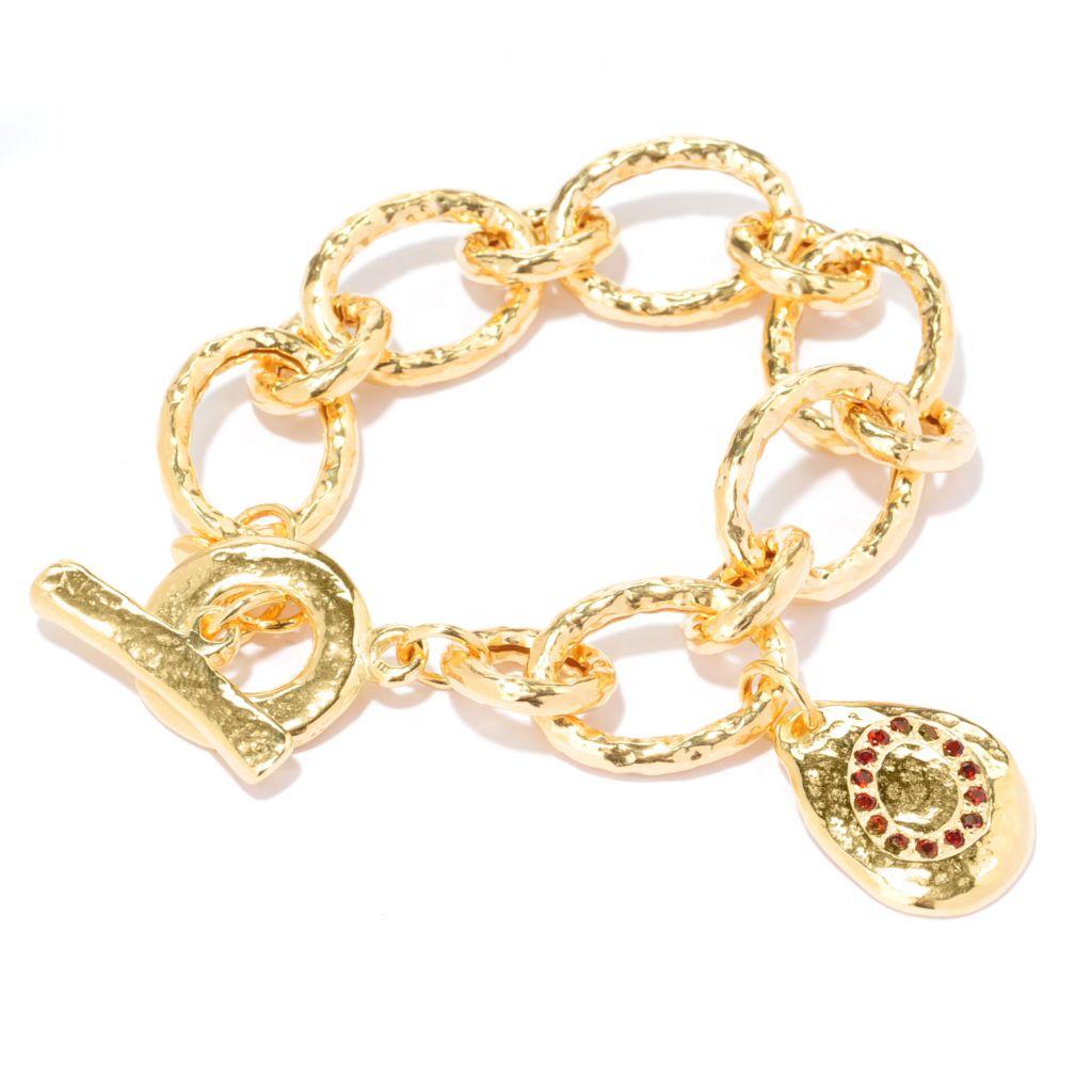 "136-795 - Toscana Italiana 18K Gold Embraced™ 7.5"" Garnet Hammered Link Toggle Bracelet w/ Charm"