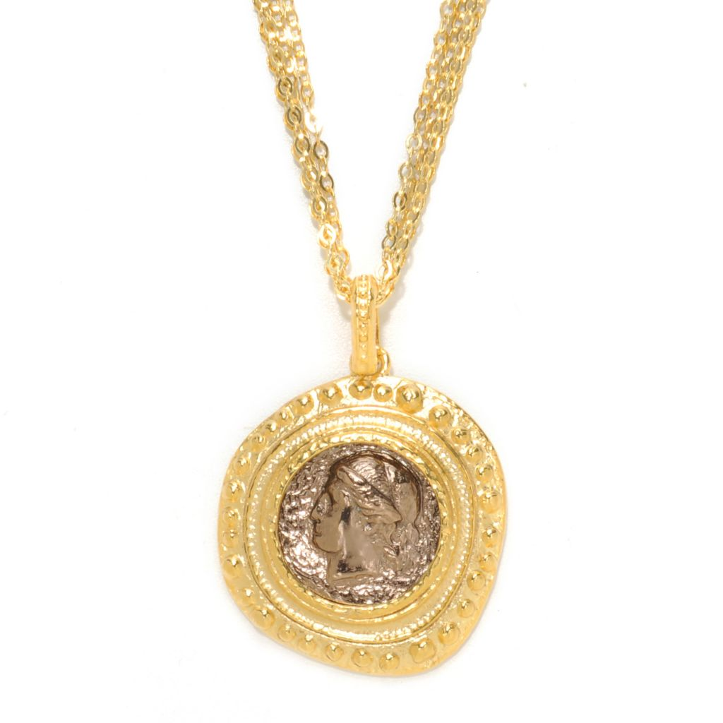 "136-796 - Toscana Italiana 18K Gold Embraced™ Engraved Solider Hammered Pendant w/ 36"" Chain"