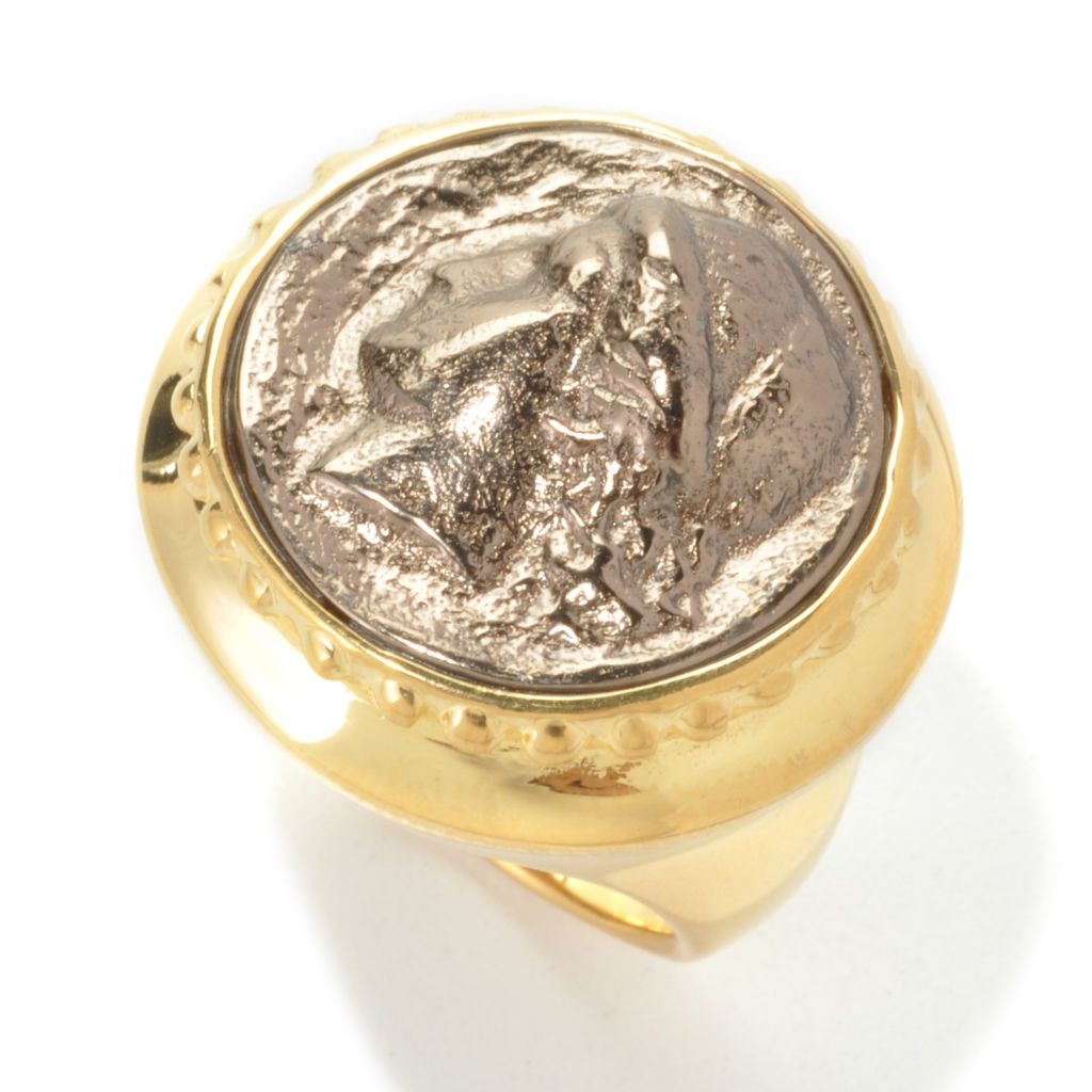 136-797 - Toscana Italiana 18K Gold Embraced™ High Polished Roman Emperor Portrait Ring